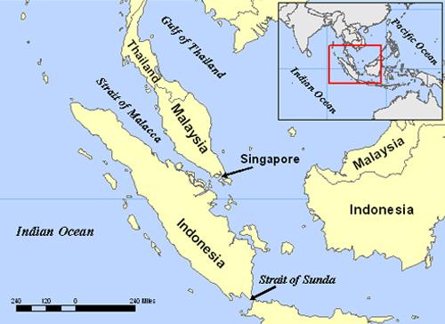 Vị trí eo biển Malacca.