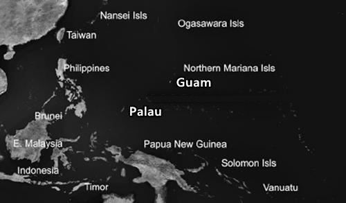 Vị trí quốc đảo Palau và đảo Guam. Đồ họa: Research Gate.