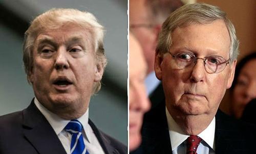 Tổng thống Mỹ Donald Trump (trái) và lãnh đạo phe đa số tại Thượng viện Mitch McConnell. Ảnh: The Hill.