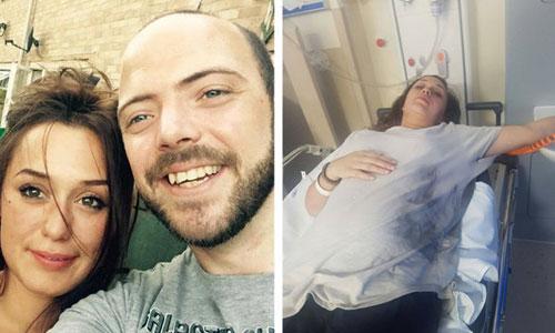 Bà bầu Kathleen Walsh nhập viện điều trị sau sự cố nổ điện thoại. Ảnh: SWNS.com.