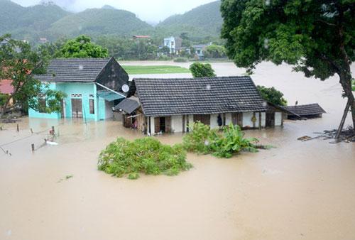 Nhà cửa, lúa và hoa màu của tổ dân phố Bắc Trung, thị trấn Sơn Dương bị ngập do lũ. Ảnh: Báo Tuyên Quang.