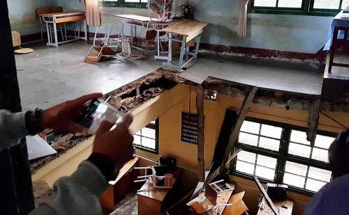 Hiện trường lớp học bị sập. Ảnh: Khánh Hương