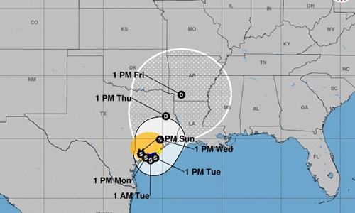 Dự báo đường đi của bão Harvey. Đồ họa: NWS.