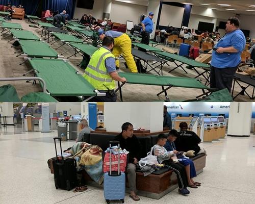 Hành khách bị kẹt lại tại sân bay được cung cấp giường ngủ, đồ ăn. Ảnh: Chloe Vo.