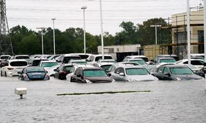 Nước lũ nhấn chìm bãi đỗ xe Houston trong một đêm