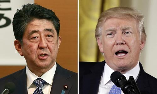 Thủ tướng Nhật Bản Shinzo Abe (trái) và Tổng thống Mỹ Donald Trump. Ảnh: SCMP.