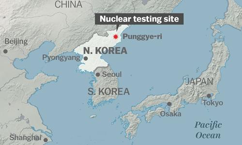 Vị trí khu vực thử hạt nhân Punggye-ri, Triều Tiên. Đồ họa: Vox.