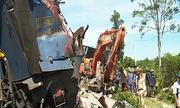 Hiện trường tàu hỏa lật sau tai nạn ở Quảng Bình