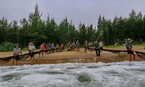 Hai chục ngư dân kéo lưới rồng dài 300 mét ở Huế