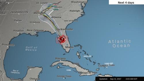 Đường đi của bão Irma trong vài ngày tới. Ảnh: CNN.