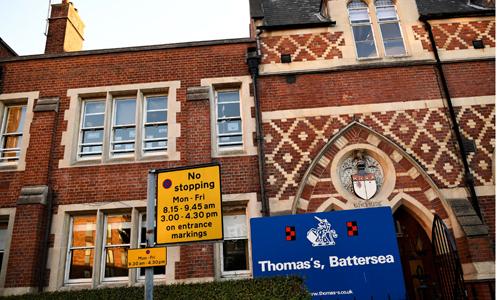 Trường tư thục Thomass Battersea nơi Hoàng tử George theo học. Ảnh: Reuters.