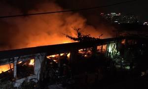 Cháy lớn kéo dài nhiều giờ tại khu công nghiệp Tân Bình TP HCM
