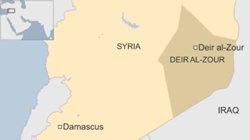 Deir ez-Zor là thành phố chiến lược ở đông bắc Syria. Đồ họa: BBC.