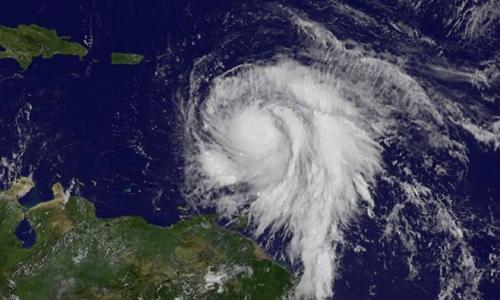 Bão Maria nhìn từ vệ tinh ngày 18/9. Ảnh: NASA.