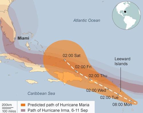 Đường đi của bão Irma và hướng di chuyển dự kiến của bão Maria. Đồ họa: BBC.