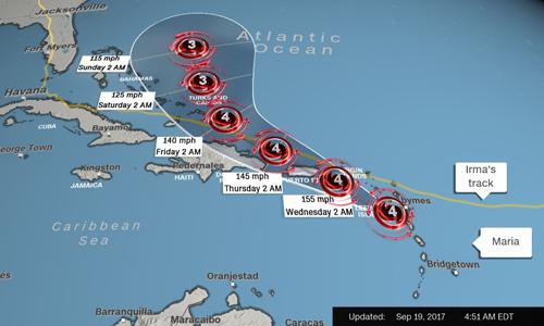 Đường đi của siêu b ão Maria được dự báo cắt qua đường đi trước đó của siêu bão Irma (đường kẻ vàng). Ảnh: CNN.