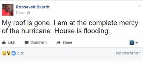 Thông báo của Thủ tướng Dominica trên Facebook về siêu bão Maria. Ảnh chụp màn hình: Facebook.