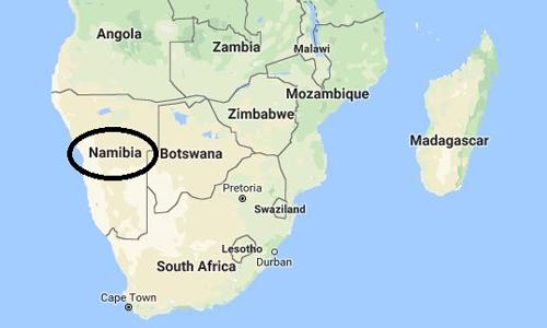 Vị trí của Namibia ở châu Phi. Ảnh: Google Maps.