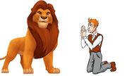 Người đàn ông quỳ lạy sư tử cho ta bắt được chữ gì?