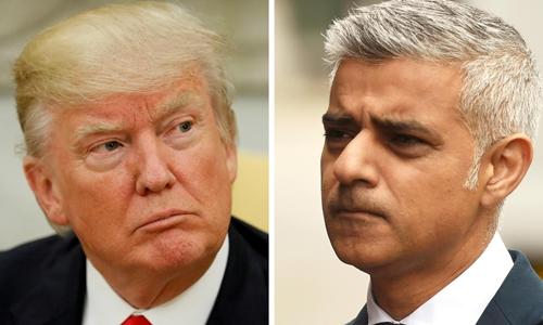 Tổng thống Mỹ Donald Trump (trái) và thị trưởng London Sadiq Khan. Ảnh: Reuters.