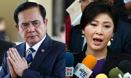 Thủ tướng Thái Lan Prayuth Chan-ocha và cựu thủ tướng Yingluck Shinawatra. Ảnh: Reuters, AP.