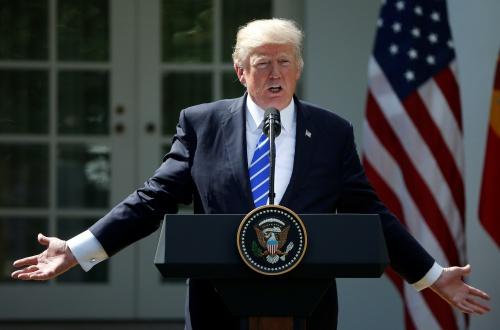 Tổng thống Mỹ Donald Trump tại cuộc họp báo ở Vườn Hồng. Ảnh: Reuters.