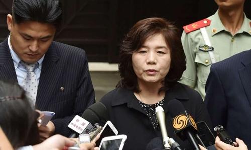 Bà Choe Son-hui, đứng đầu bộ phận chuyên các vấn đề về Mỹ, Bộ Ngoại giao Triều Tiên. Ảnh: Kyodo.