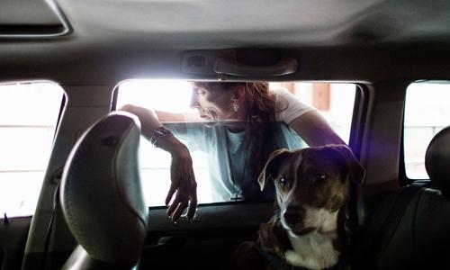 Giảng viên tiếng Anh bán thời gian Ellen James-Penney sống trong ôtô cùng chồng và hai con chó. Ảnh: Guardian.