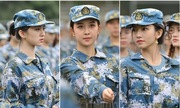 Nữ sinh trường nghệ thuật Trung Quốc tập quân sự