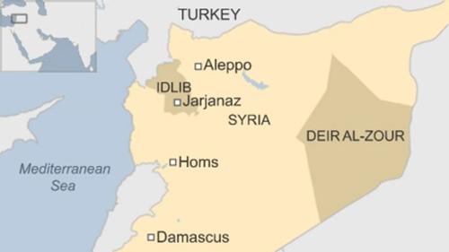Vị trí tỉnh Idlib và Deir ez-Zor (còn gọi là Deir al-Zour), Syria. Đồ họa: BBC.