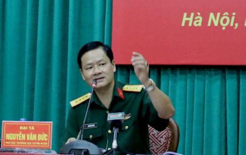 Đại tá Nguyễn Văn Đức, Cục phó Tuyên huấn, Tổng cục Chính trị, Bộ Quốc phòng. Ảnh: HT