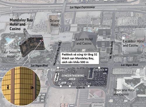 Khu vực xảy ra vụ xả súng gây nhiều chết nhất trong lịch sử Mỹ. Đồ họa: AP.