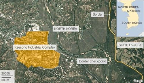 Vị trí khu công nghiệp Kaesong. Đồ họa: BBC.