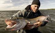 Người đàn ông ôm con cá khổng lồ cho ta bắt được chữ gì?