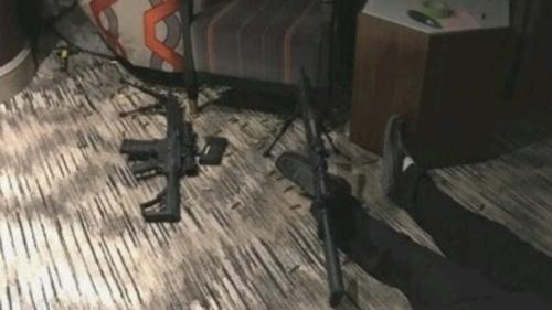 Hiện trường căn phòng của Paddock sau vụ xả súng. Ảnh: Sun.