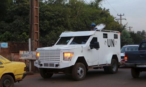 Xe tuần tra của Liên Hợp Quốc. Ảnh: Reuters.