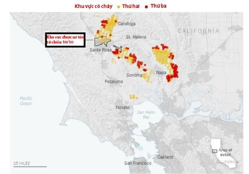 Sơ đồ khu vực xảy ra cháy ở Bắc California. Đồ họa: New York Times.
