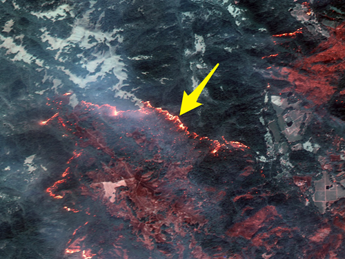 Hình ảnh cháy rừng nhìn từ vệ tinh ở California. Ảnh: DigitalGlobe.