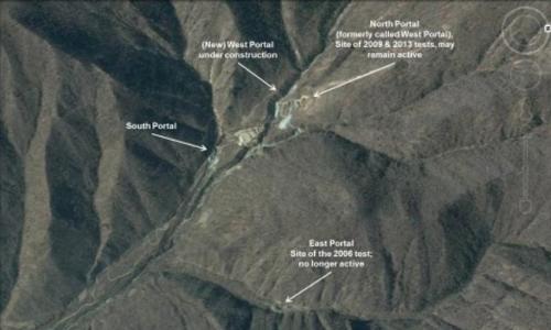 Khu vực núi Mantap trên bãi thử hạt nhân của Triều Tiên. Ảnh: Google Earth.