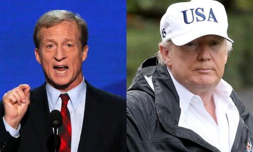 Tỷ phú Tom Steyer và Tổng thống Mỹ Donald Trump. Ảnh: