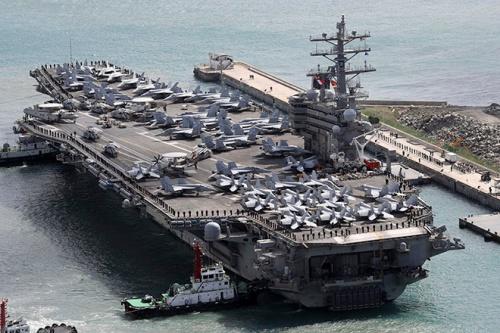 Tàu sân bay USS Ronald Reagan. Ảnh: Yonhap.