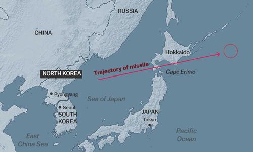 Mô phỏng đường đi một quả tên lửa của Triều Tiên qua mũi Erimo, Hokkaido, Nhật Bản. Đồ họa: Vox.