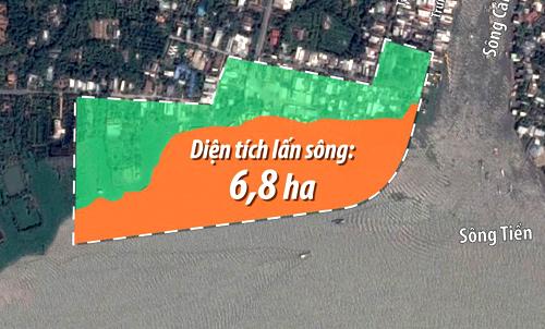 Diện tích lấn sông của công trình gần 7 ha. Ảnh: Lê Huyền