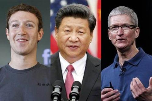 Giám đốc điều hành Facebook, Chủ tịch Trung Quốc và Giám đốc điều hành Apple. Ảnh: Reuters.