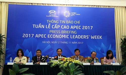 Sự kiện họp báo về Tuần lễ cấp cao APEC 2017 tại Hà Nội sáng 2/11. Ảnh: Việt Anh.