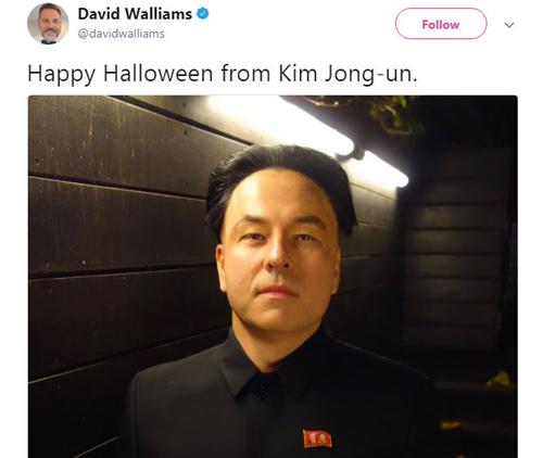 Hình ảnh gây tranh cãi của David Walliams khi hóa trang thành nhà lãnh đạo Triều Tiên Kim Jong-un. Ảnh chụp màn hình: Twitter.