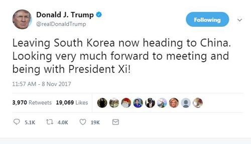 Dòng tweet Tổng thống Trump đăng trước khi rời Hàn Quốc đến Trung Quốc. Ảnh: Twitter.