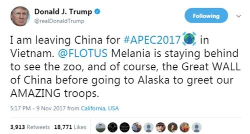 Ông chủ Nhà Trắng thông báo chuẩn bị đến Việt Nam. Ảnh: Twitter/realDonaldTrump.