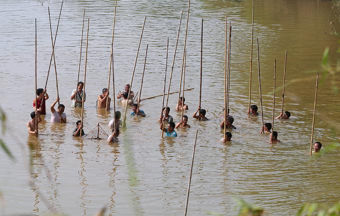 Hàng trăm trai tráng 'dập' cá trên sông ngoại thành Hà Nội