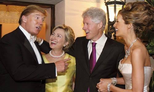 Vợ chồng cựu tổng thống Bill Clinton (giữa) dự đám cưới Donald Trump và phu nhân vào năm 2005. Ảnh: Hollywood Reporter